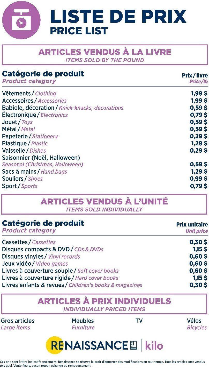 tarifs et prix au Centre de liquidation