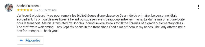 commentaire fiche librairie d'occasion bélanger